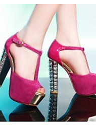 cheap -Women's Heels Chunky Heel Suede Comfort / Basic Pump Spring / Summer Black / Fuchsia / Blue / Daily
