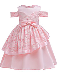 cheap -Kids Girls' Vintage Street chic Daily Going out Solid Colored Short Sleeve Knee-length Dress Blushing Pink