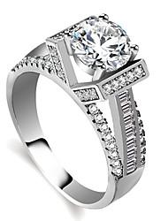 cheap -Women's Ring Engagement Ring 1pc Silver Brass Platinum Plated Imitation Diamond Ladies Elegant Romantic Engagement Valentine Jewelry Stylish Hollow Halo Creative Lovely