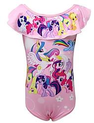 Недорогие -Дети Дети (1-4 лет) Девочки Пляж Unicorn С принтом Купальник Розовый