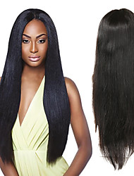 cheap -Human Hair Full Lace Wig Asymmetrical Kardashian style Malaysian Hair Straight Black Wig 130% 150% 180% Density with Baby Hair Odor Free Woven New Arrival Fashion Women's Medium Length Human Hair