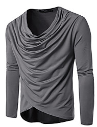 cheap -Men's Daily Basic T-shirt - Solid Colored V Neck Black / Long Sleeve