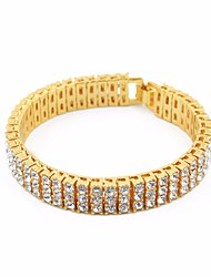 cheap -Men's AAA Cubic Zirconia Chain Bracelet Tennis Bracelet Stylish Creative European Trendy Hip-Hop Iced Out Rhinestone Bracelet Jewelry Gold / Black / Silver For Wedding Masquerade Engagement Party