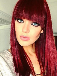 cheap -Synthetic Wig Wavy Bob Wig Ombre Medium Length Black / Red Synthetic Hair Women's Party Classic Synthetic Red Ombre