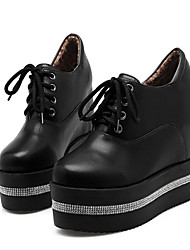 cheap -Women's Oxfords Wedge Heel Round Toe Rhinestone PU Booties / Ankle Boots Fashion Boots / Bootie Fall & Winter Black / White / Daily