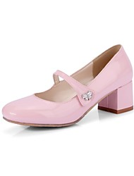 cheap -Women's Heels Block Heel Patent Leather Comfort Spring & Summer Black / White / Red