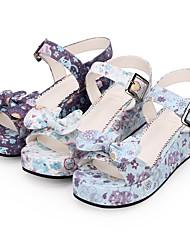 cheap -Women's Lolita Shoes Princess Lolita Wedge Heel Shoes Pattern 5 cm White Purple PU(Polyurethane) Halloween Costumes
