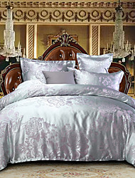 cheap -Duvet Cover Sets Luxury Polyster Jacquard 4 PieceBedding Sets / 300 / 4pcs (1 Duvet Cover, 1 Flat Sheet, 2 Shams)