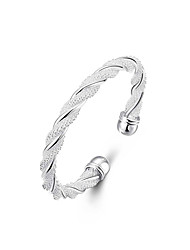 cheap -Women's Bracelet Bangles Cuff Bracelet Twisted Weave Twist Circle Ladies Unique Design Fashion Open Italian Silver Plated Bracelet Jewelry Silver For Wedding Party Gift Daily Casual