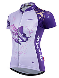 cheap -Malciklo Women's Cycling Jersey Purple Butterfly Plus Size Bike Jersey Top Clothing Suit Mountain Bike MTB Road Bike Cycling Sports Polyester Coolmax® 100% Polyester Clothing Apparel / Quick Dry