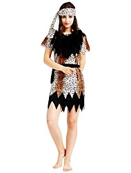 cheap -Primitive Costume Women's Highschool Halloween Halloween Carnival Masquerade Festival / Holiday Polyster Outfits Brown Solid Colored Polka Dot Halloween