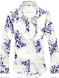 cheap -Men's Daily Chinoiserie Cotton Shirt - Floral Blue / Long Sleeve / Summer