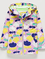 cheap -Kids Toddler Girls' Basic Floral Long Sleeve Jacket & Coat Purple