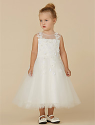 cheap -Princess Tea Length Wedding / First Communion Flower Girl Dresses - Lace / Tulle Sleeveless Illusion Neck with Beading / Appliques