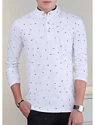 cheap -Men's Daily Cotton T-shirt - Floral Stand White / Long Sleeve