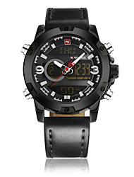 cheap -NAVIFORCE Men's Dress Watch Wrist Watch Digital Watch Quartz Genuine Leather Black / Brown 30 m Water Resistant / Waterproof New Design LCD Analog - Digital Classic Casual Fashion - Black Black