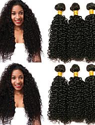 cheap -6 Bundles Peruvian Hair Kinky Curly Human Hair Natural Color Hair Weaves / Hair Bulk Hair Care Bundle Hair 8-28 inch Natural Color Human Hair Weaves Gift Smooth Natural Human Hair Extensions