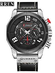 cheap -CURREN Men's Dress Watch Bracelet Watch Aviation Watch Quartz Genuine Leather Black / Brown Water Resistant / Waterproof Calendar / date / day New Design Analog Classic Casual Fashion - Black
