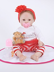 cheap -FeelWind Reborn Doll Girl Doll Baby Girl 22 inch lifelike Hand Made Child Safe Parent-Child Interaction Hand Rooted Mohair Hand Applied Eyelashes Kid's Girls' Toy Gift / Natural Skin Tone