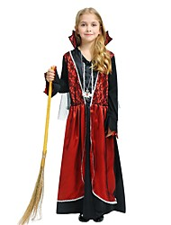 cheap -Witch Costume Girls' Kid's Halloween Halloween Carnival Children's Day Festival / Holiday Polyster Outfits Rose Solid Colored Halloween