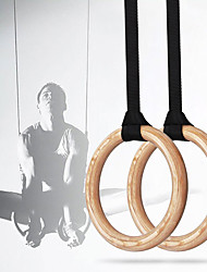 cheap -Gymnastic Rings Punching Bag Cam Buckle Straps Sports Wood Home Workout Gym Exercise & Fitness Adjustable Olympic Heavy Duty Muscular Bodyweight Training Crossfit Pull Up For