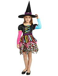 cheap -Witch Costume Girls' Kid's Halloween Christmas Halloween Carnival Festival / Holiday Polyster Outfits Rainbow Solid Colored Halloween