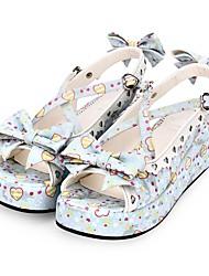 cheap -Women's Lolita Shoes Sandals Princess Lolita Wedge Heel Shoes Pattern Bowknot 5 cm White Blue PU(Polyurethane) Halloween Costumes