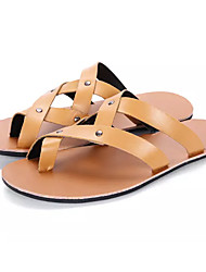 cheap -Men's Comfort Shoes PU Summer Slippers & Flip-Flops Black / Brown / White