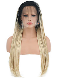 cheap -Synthetic Lace Front Wig Straight Braid Lace Front Wig Blonde Long Black / Gold Synthetic Hair Women's Heat Resistant Blonde