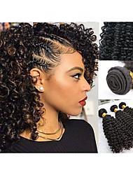 cheap -3 Bundles Hair Weaves Malaysian Hair Kinky Curly Human Hair Extensions Remy Human Hair 100% Remy Hair Weave Bundles 300 g Natural Color Hair Weaves / Hair Bulk Human Hair Extensions 8-28 inch Natural