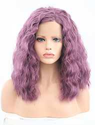 cheap -Synthetic Lace Front Wig Curly Bob Lace Front Wig Short Purple Synthetic Hair Women's Adjustable Heat Resistant Purple
