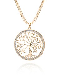 cheap -Women's AAA Cubic Zirconia Statement Necklace Cross Body Tree of Life life Tree Ladies Classic Holiday Army Rhinestone Alloy Rose Gold Gold Silver 75 cm Necklace Jewelry 1pc For Going out Club