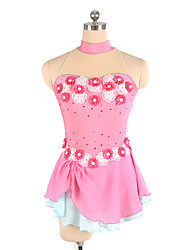 cheap -Figure Skating Dress Women's Girls' Ice Skating Dress Pink Flower Spandex Lace Inelastic Training Competition Skating Wear Solid Colored Sleeveless Ice Skating Figure Skating