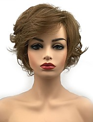 cheap -Synthetic Wig Curly Side Part Wig Short Golden Brown Synthetic Hair Women's Synthetic Light Brown StrongBeauty