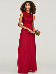 cheap -A-Line Jewel Neck Floor Length Chiffon / Lace Bridesmaid Dress with Sash / Ribbon / Bow(s)