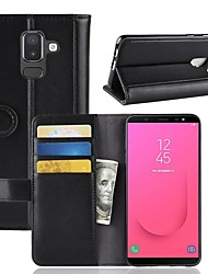 cheap -Case For Samsung Galaxy J8 / J7 Duo / J7 (2017) Wallet / Card Holder / with Stand Full Body Cases Solid Colored Hard Genuine Leather