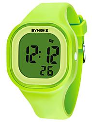 Недорогие -SYNOKE Муж. Жен. Спортивные часы электронные часы Цифровой силиконовый Черный / Белый / Синий 50 m Защита от влаги Календарь Секундомер Цифровой Мода - Желтый Красный Розовый / Хронометр