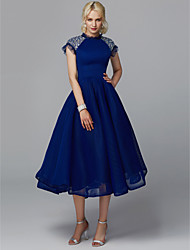 cheap -Ball Gown Elegant Beaded & Sequin Cocktail Party Prom Dress High Neck Short Sleeve Tea Length Tulle with Sequin 2020