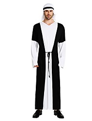 cheap -Arabian Costume Men's Highschool Halloween Halloween Carnival Masquerade Festival / Holiday Polyster Outfits Black Solid Colored Halloween