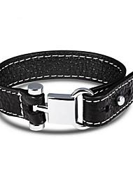 Недорогие -Муж. Кожаные браслеты Одинарная цепочка Плетение Хип-хоп Кожа Браслет Ювелирные изделия Черный Назначение Повседневные Свидание