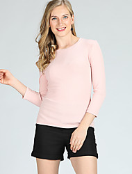 cheap -Women's Daily / Sports Basic Solid Colored 3/4 Length Sleeve Skinny Short Pullover, Round Neck Spring / Summer White / Pink XL / XXL / XXXL