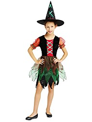cheap -Witch Costume Girls' Teen Halloween Halloween Carnival Children's Day Festival / Holiday Polyster Outfits Rainbow Solid Colored Halloween