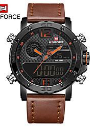 cheap -NAVIFORCE Men's Dress Watch Wrist Watch Digital Watch Quartz Leather Black / Brown 30 m Water Resistant / Waterproof New Design LCD Analog - Digital Classic Casual Fashion - Black / Red Black