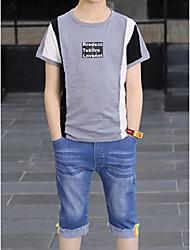 cheap -Kids Boys' Basic Geometric Color Block Short Sleeve Cotton Clothing Set White