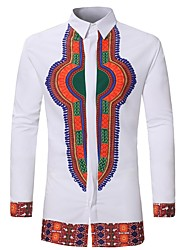 cheap -Men's Sports Weekend Basic Plus Size Cotton Slim Shirt - Tribal White / Long Sleeve / Summer