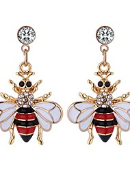 cheap -Women's Drop Earrings Long Bee Ladies Vintage Cartoon Fashion Rhinestone Earrings Jewelry Yellow / Red For Party Going out 1 Pair