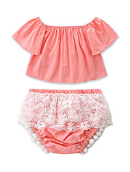 cheap -Baby Girls' Casual / Active Daily / Holiday Solid Colored Lace / Lace Trims Half Sleeve Short Clothing Set Blushing Pink / Toddler