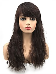 cheap -Synthetic Wig Wavy Middle Part Wig Long Dark Brown / Dark Auburn Synthetic Hair Women's Synthetic Dark Brown StrongBeauty