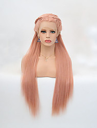 cheap -Synthetic Lace Front Wig Straight Middle Part Lace Front Wig Blonde Long Light Blonde Orange Synthetic Hair 24 inch Women's Adjustable Heat Resistant Party Blonde