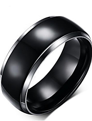cheap -Men's Band Ring 1pc Black Titanium Steel Tungsten Steel Circle Geometric Unique Design Classic Initial Wedding Daily Jewelry Vintage Style Creative Cool